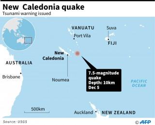 新喀里多尼亚附近 7.5 级地震触发海啸预警      无人员伤亡和损失报告