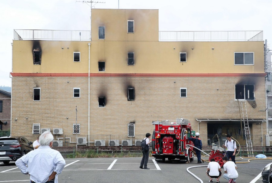A fire at an animation company in Japan Kyoto on July 18 killed one person and injured dozens more. (Photo by JIJI PRESS / AFP)